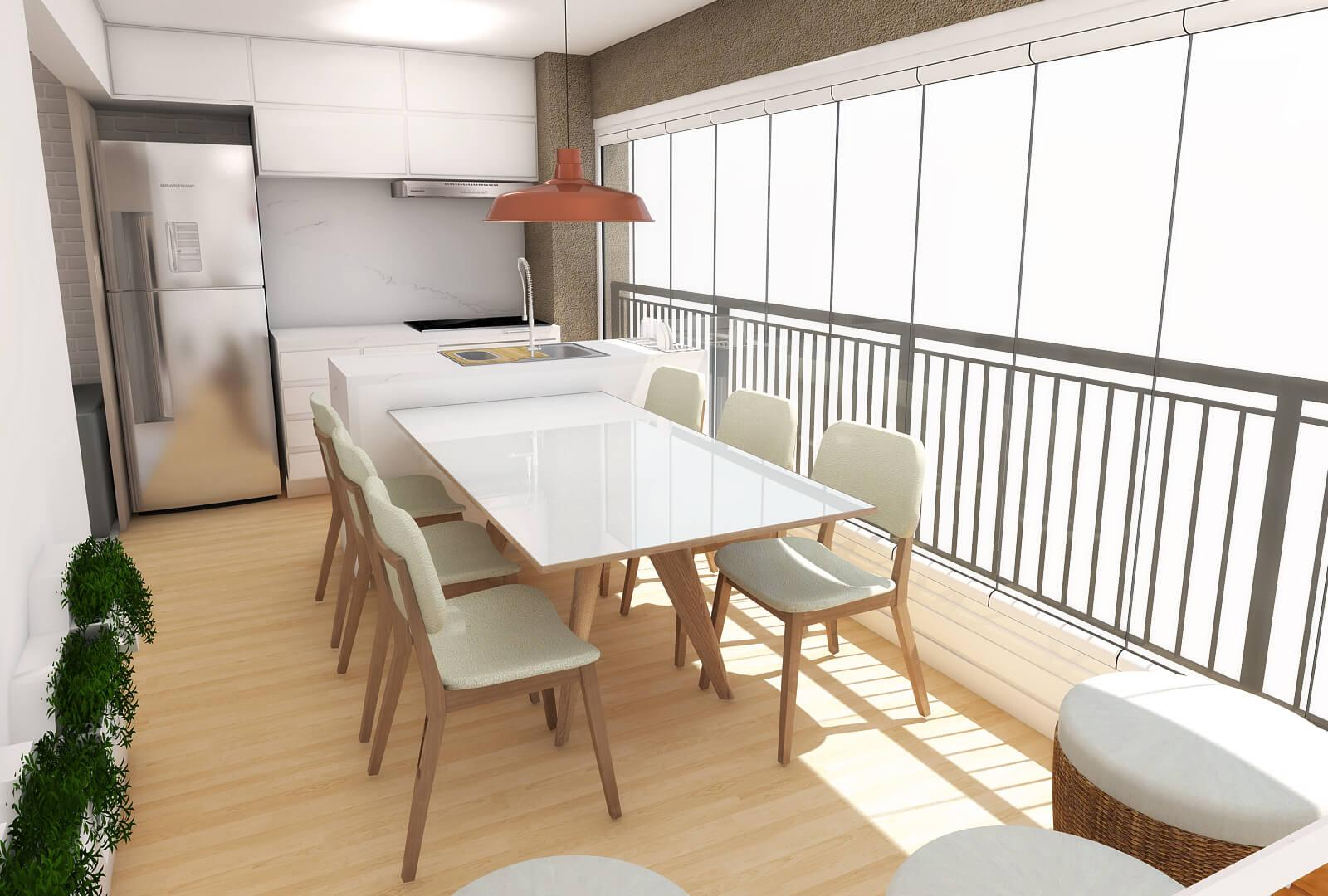 3D design of the T&V balcony and kitchen