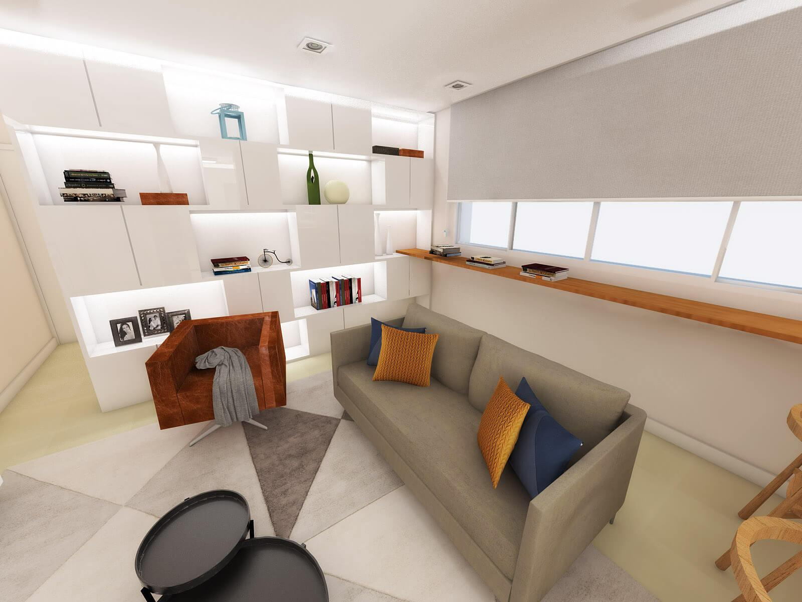 3D view of the living room of the H&C apartment, reflecting the couple's contemporary and elegant style