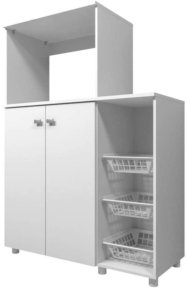 Cupboard with built-in fruit bowl, a facility that optimizes space.