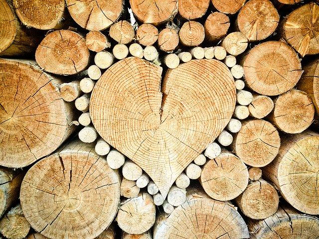 Heart-shaped pieces of wood.
