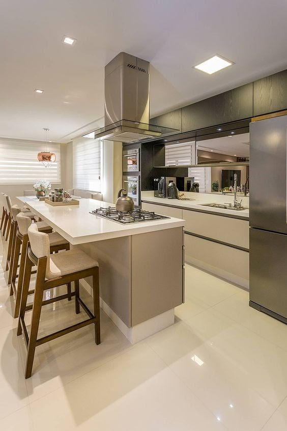 Open concept kitchen using the island.