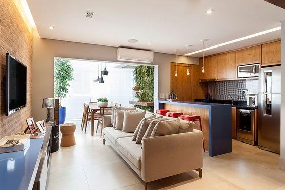 Open concept with partition from the furniture.