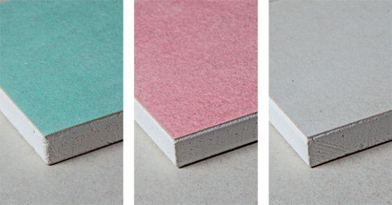 Types of plasterboard: green, pink and white.