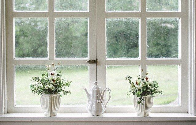 Window with potted plants.